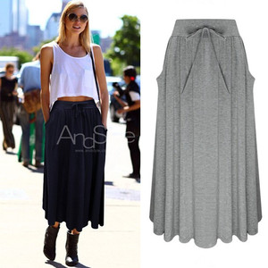 European Express AliExpress bow tie comfortable solid color knit skirt Short skirt