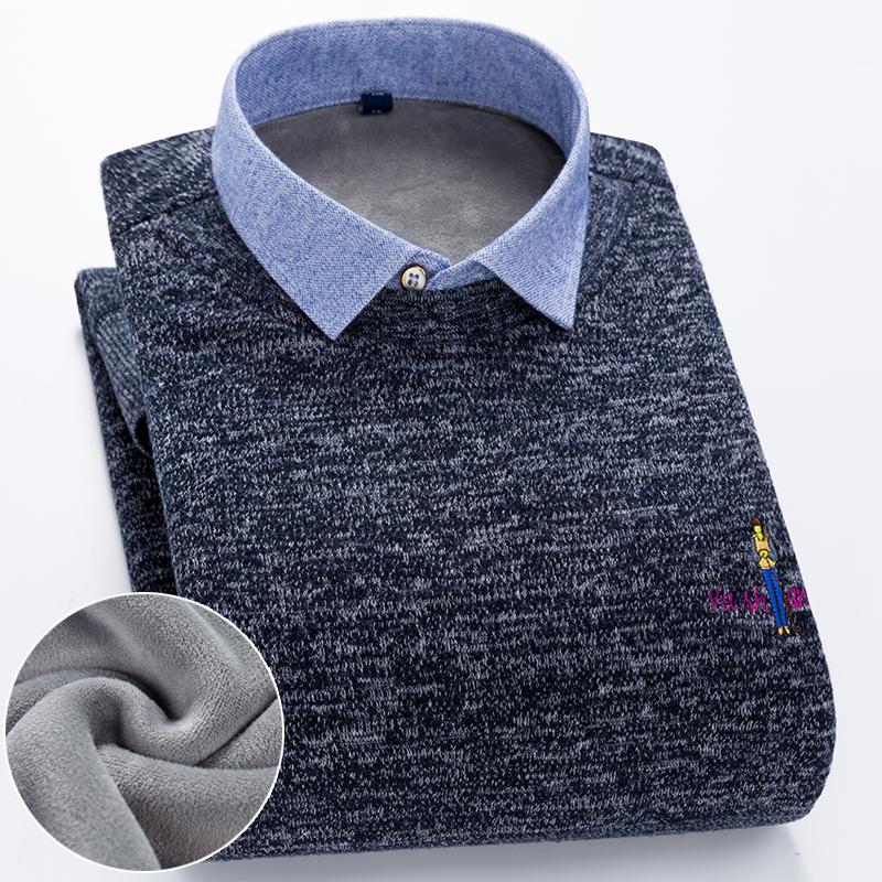 冬季男士假两件保暖衬衫中青年加绒加厚长袖衬衣套头针织衫毛衣潮