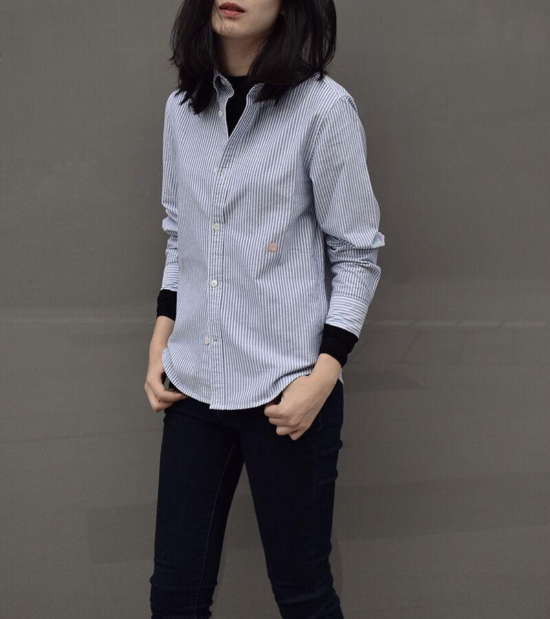 满分推荐 18早春 经典四季款  利落清新蓝白条纹衬衫【S1129】特