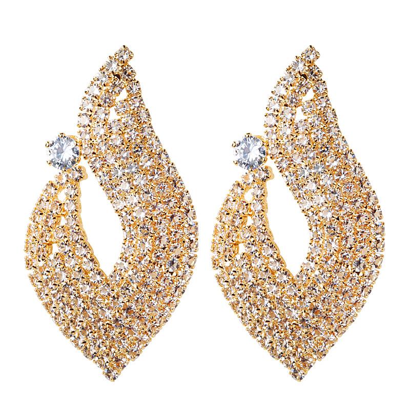 韩国夸张时尚大气爆闪满钻耳钉女银针优雅气质个性耳环轻奢耳饰品