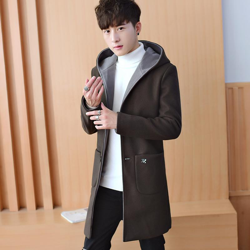 秋冬季风衣男中长款韩版潮流新款毛呢大衣帅气休闲男士呢子外套秋