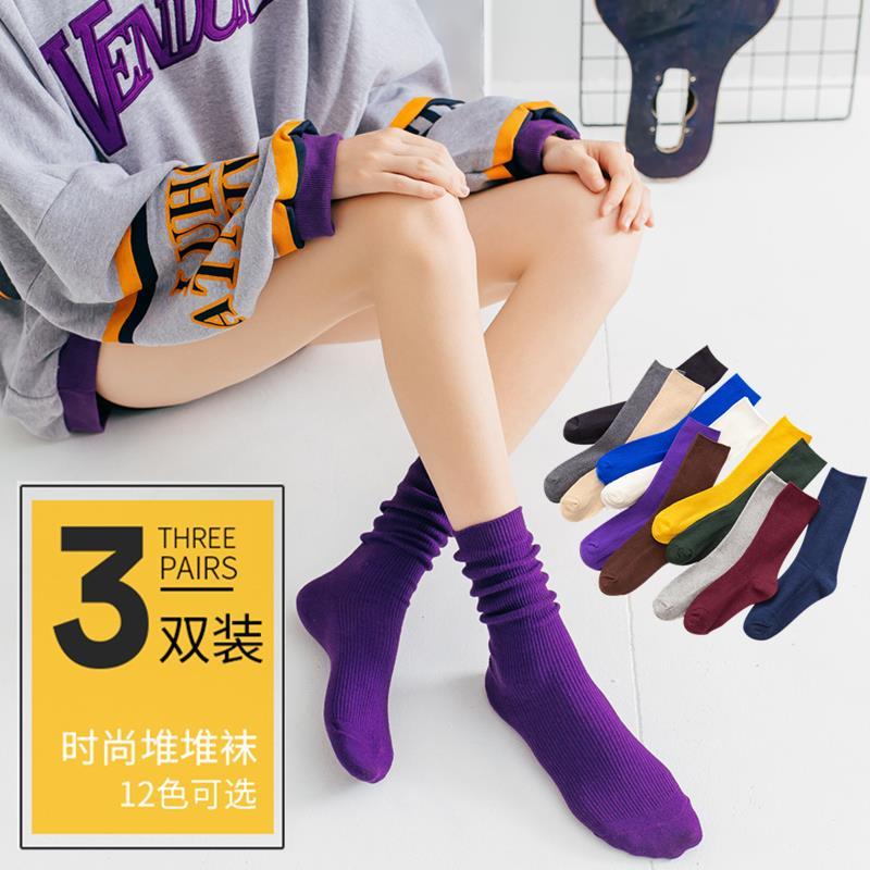 长袜子女ins潮网红韩国春秋夏季堆堆袜女夏天薄款透气纯棉中筒袜