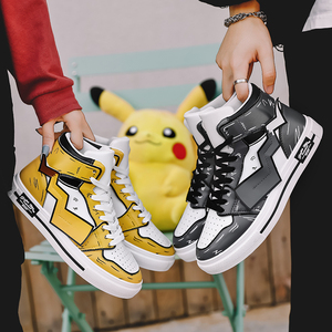 Pikachu joint shoes men's shoes sports basketball shoes autumn and winter high-top sneakers women ins tide shoes board shoes couple shoes