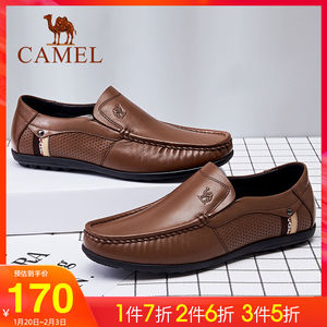 Camel men's shoes 2019 autumn and winter leather sandals business casual loafers breathable net shoes cowhide leather beanie shoes