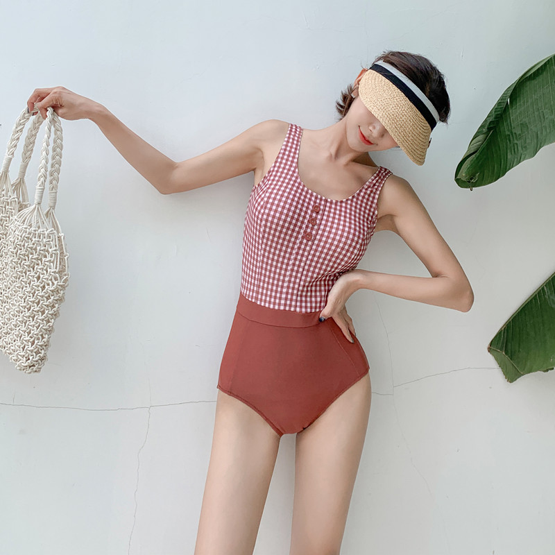 欧淇亚 拼色露背性感连体比基尼小胸聚拢保守遮肚显瘦温泉泳衣女