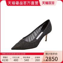 【预售】JimmyChoo/LOVE65黑色闪粉网纱女士尖头高跟鞋婚鞋女鞋凉鞋