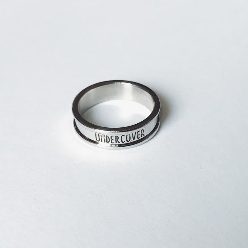 UCCOVER 17SS日潮原宿风光面银色简约字母食指环男女戒指尾戒饰品