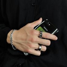 韩国简约冷淡风复古做旧ji8银粗款工an指环链条麻花戒指男女