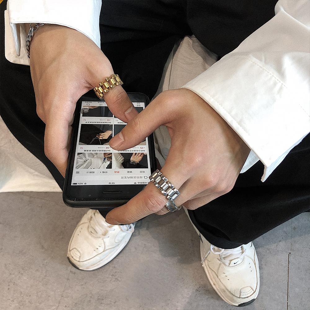 SAZ美伢同款欧美嘻哈钛钢hip hop小众链条表带金色戒指指环男女潮