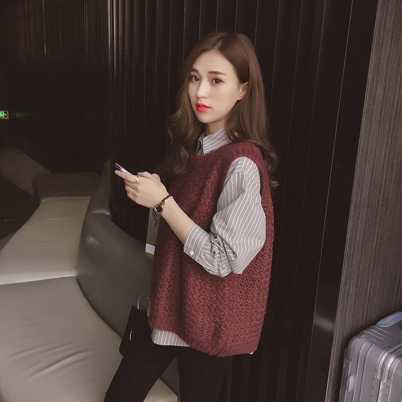 2017秋冬新款打底条纹复古港风chic衬衫两件套针织毛衣马甲外套女