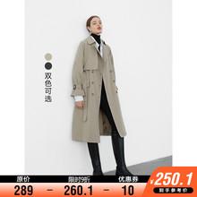 【9折现货】风衣女中长ag8韩款收腰ri扣垂感气质外套秋时尚