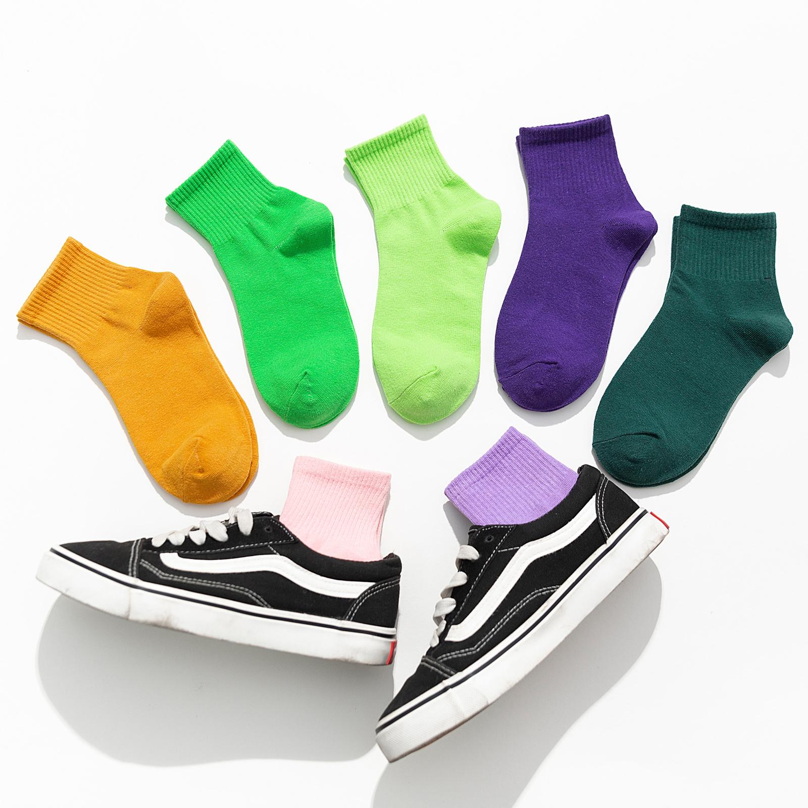 纯色袜子女黑色中筒袜韩国日系ins潮网红款纯棉春秋夏季白色短袜
