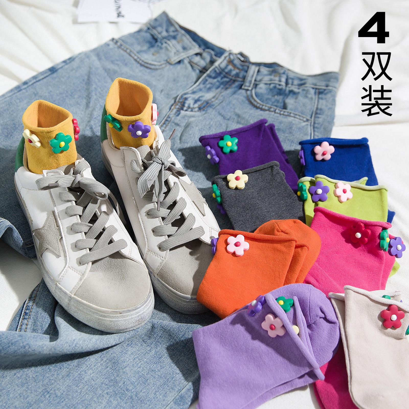 花朵小花袜子泫雅风同款女中筒袜韩国网红短款ins潮彩色夏季彩虹