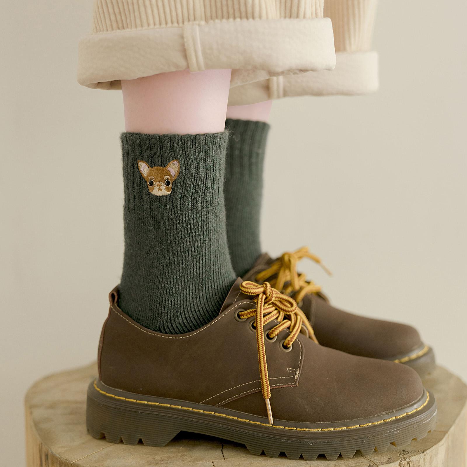 长袜子女中筒袜ins潮日系可爱秋冬季加厚加绒保暖羊毛毛圈袜长筒