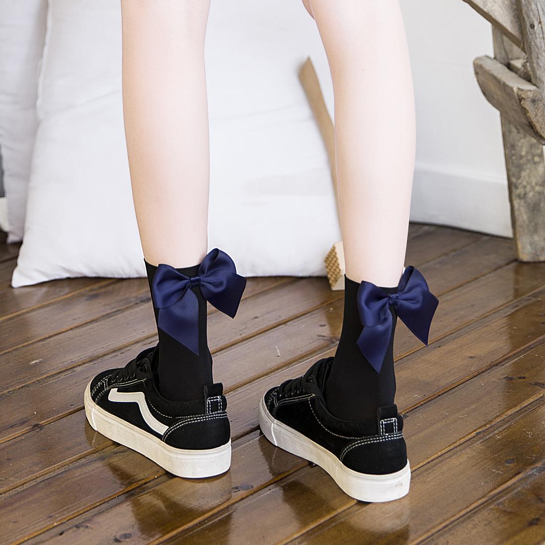 冰冰袜子女花边中筒袜夏季天鹅绒韩国日系蝴蝶结系带女袜夏天防晒