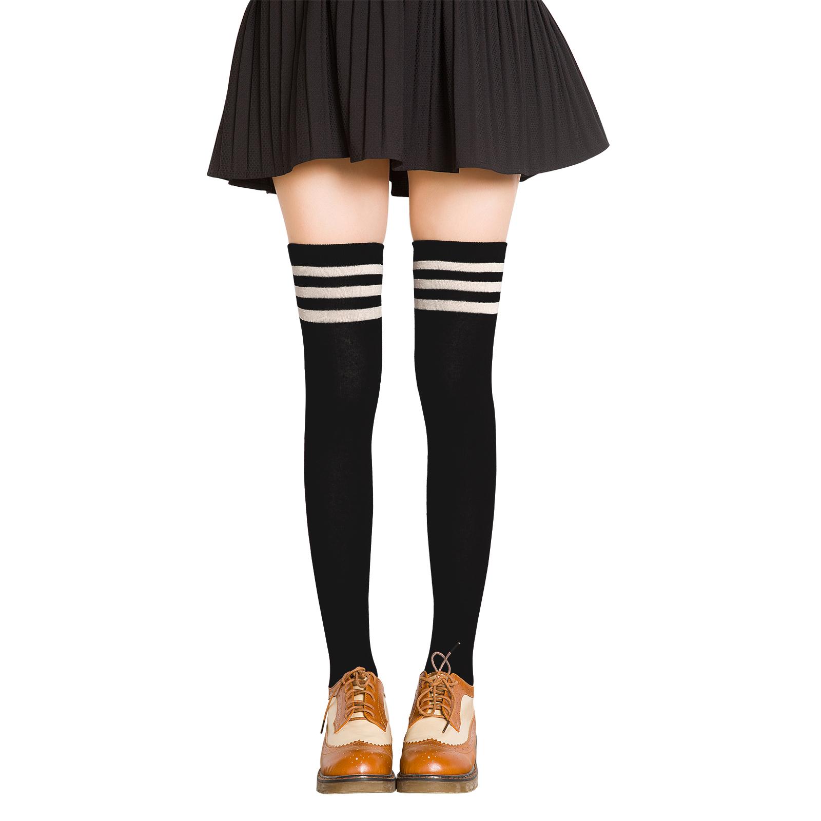 日系长筒袜子过膝黑色条纹高筒袜长袜子女学生韩国潮ins夏季薄款