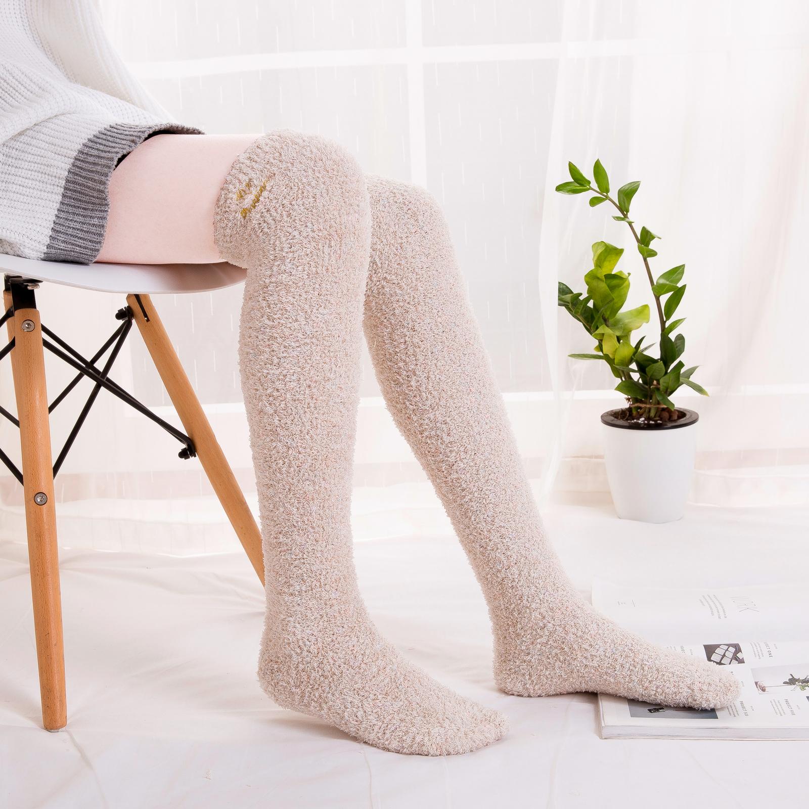 毛绒长腿睡觉袜子珊瑚绒过膝袜日系高筒袜加绒加厚冬天保暖睡眠袜