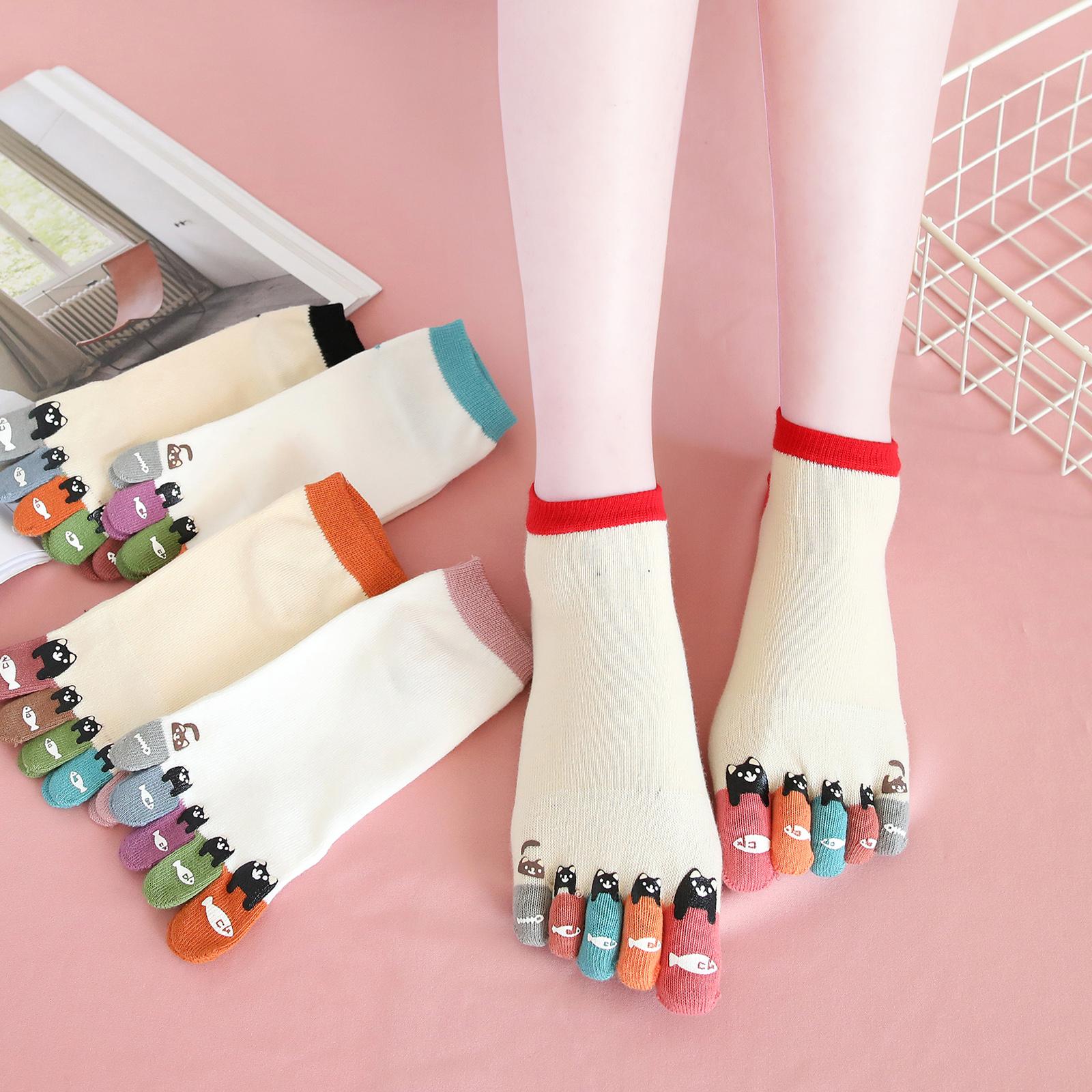 袜子女式五指袜纯棉浅口短袜短筒全棉防臭吸汗韩国可爱卡通秋冬款