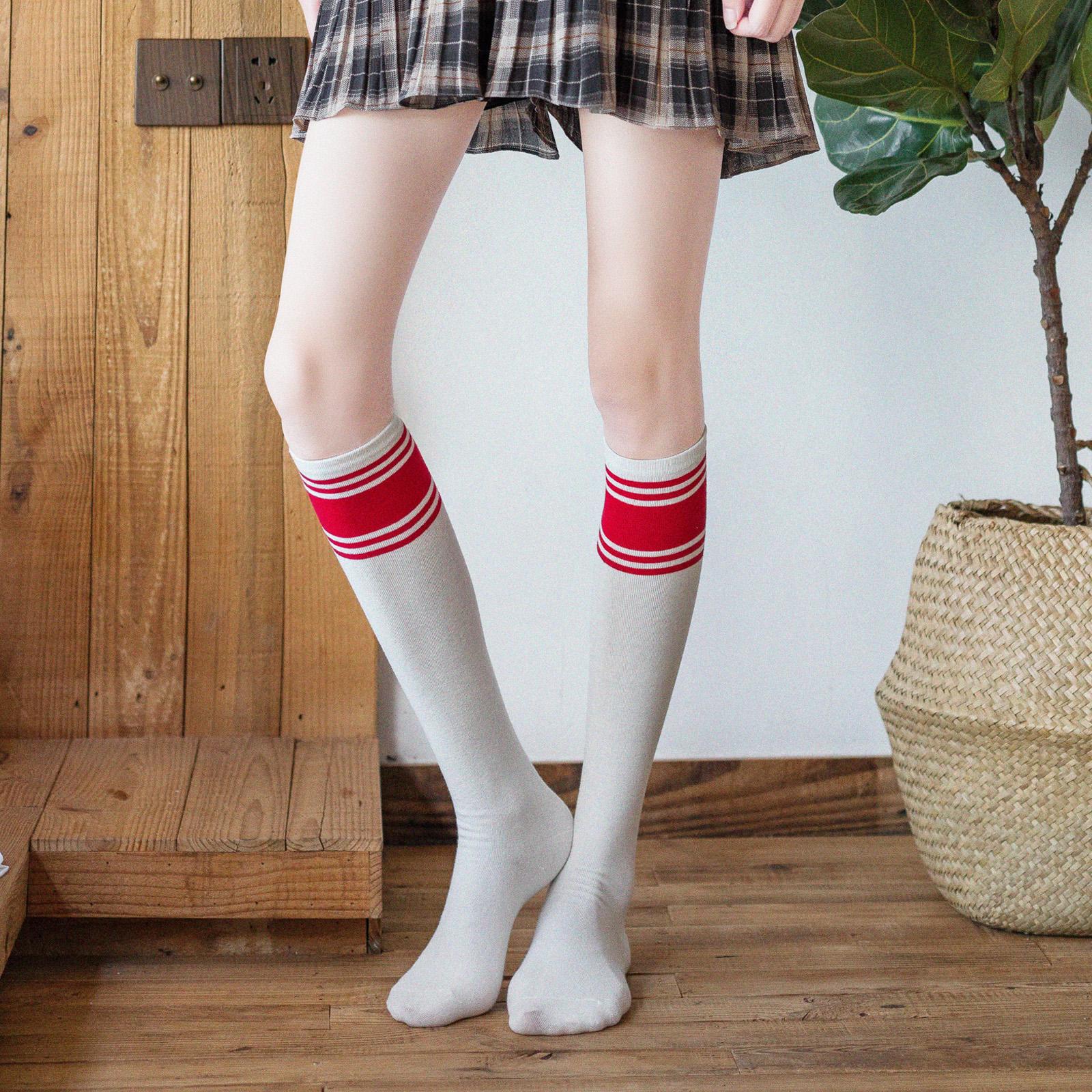 条纹袜子女小腿袜潮ins及膝袜韩国学院风日系学生长筒袜夏季薄款