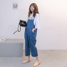 孕妇裤2021春装套装休闲da10尚宽松h5妇牛仔背带裤夏季潮妈