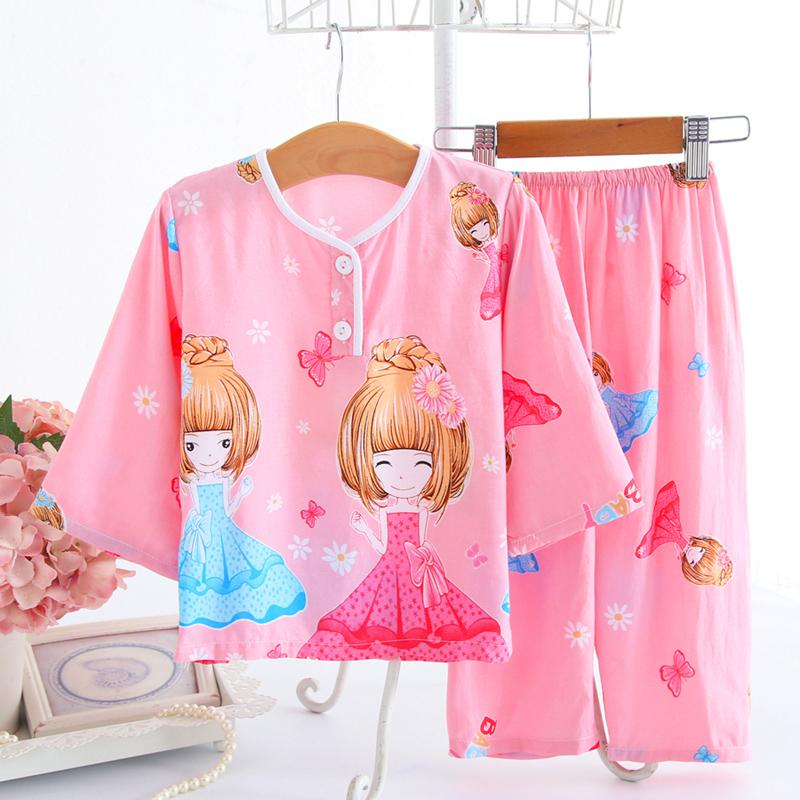 女宝宝睡衣夏季1-3-11岁男女童薄款棉绸空调服儿童长袖家居服套装