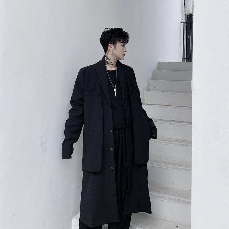 2019秋冬装山本暗黑假两件西装领男士中长款风衣外套 KK1281/P175