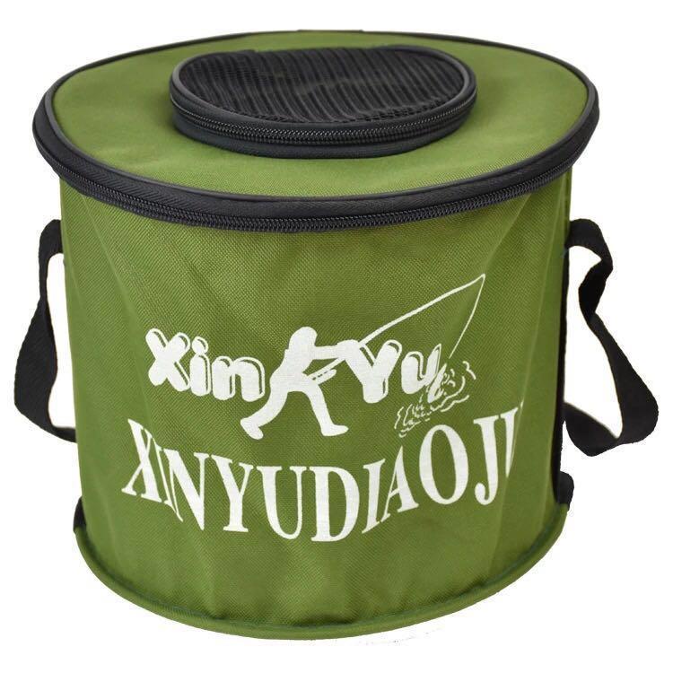 钓鱼桶折叠水桶带盖活鱼桶便携防水帆布鱼桶钓鱼用具装鱼箱手提桶