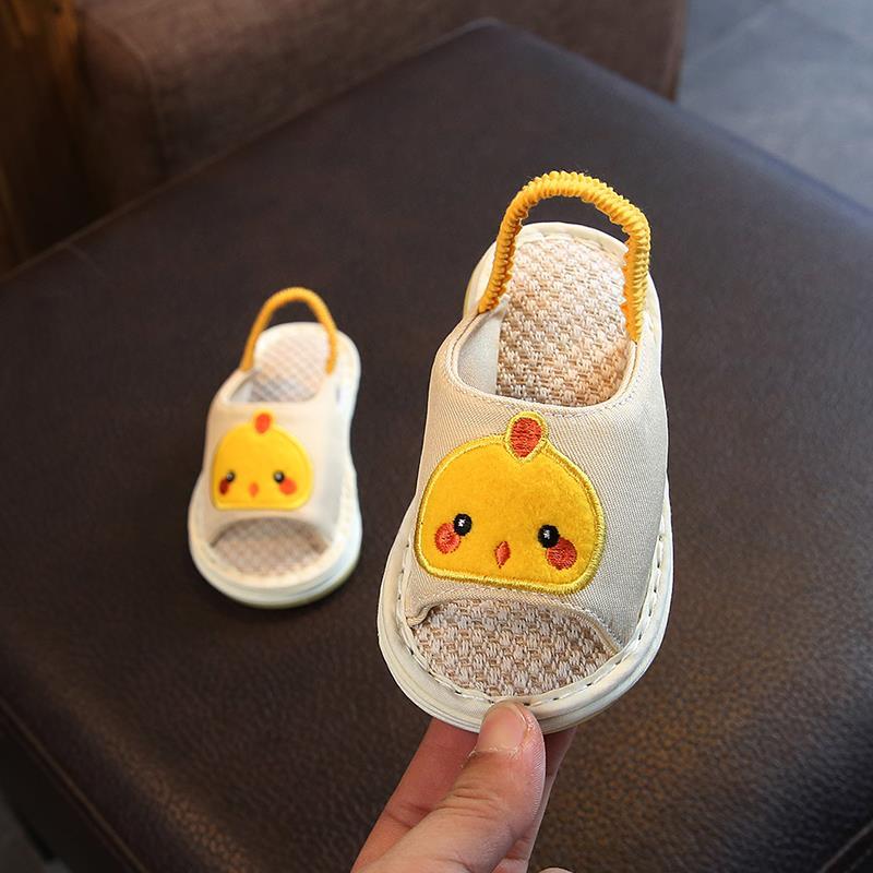 春秋季1-2-3-4岁宝宝亚麻拖鞋男女儿童卡通防滑软底室内棉布拖鞋