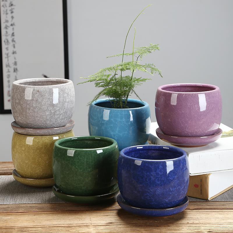 果冻色紫砂多肉植物冰裂彩釉陶瓷花盆托盘水土培手工花器包邮
