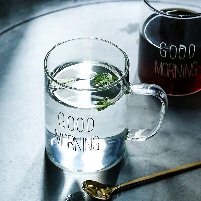 【破损包赔】耐热透明玻璃水杯带把男女字母早餐牛奶杯简约果汁杯