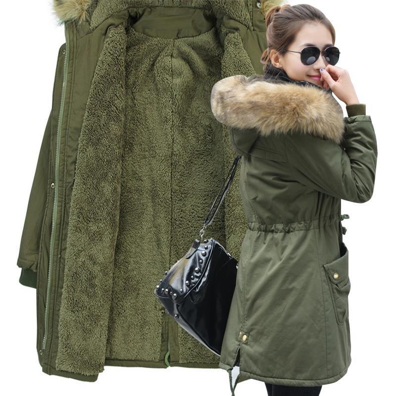 2018冬装新款韩版加肥加大中长款羊羔毛加厚绒棉衣女连帽棉服棉袄