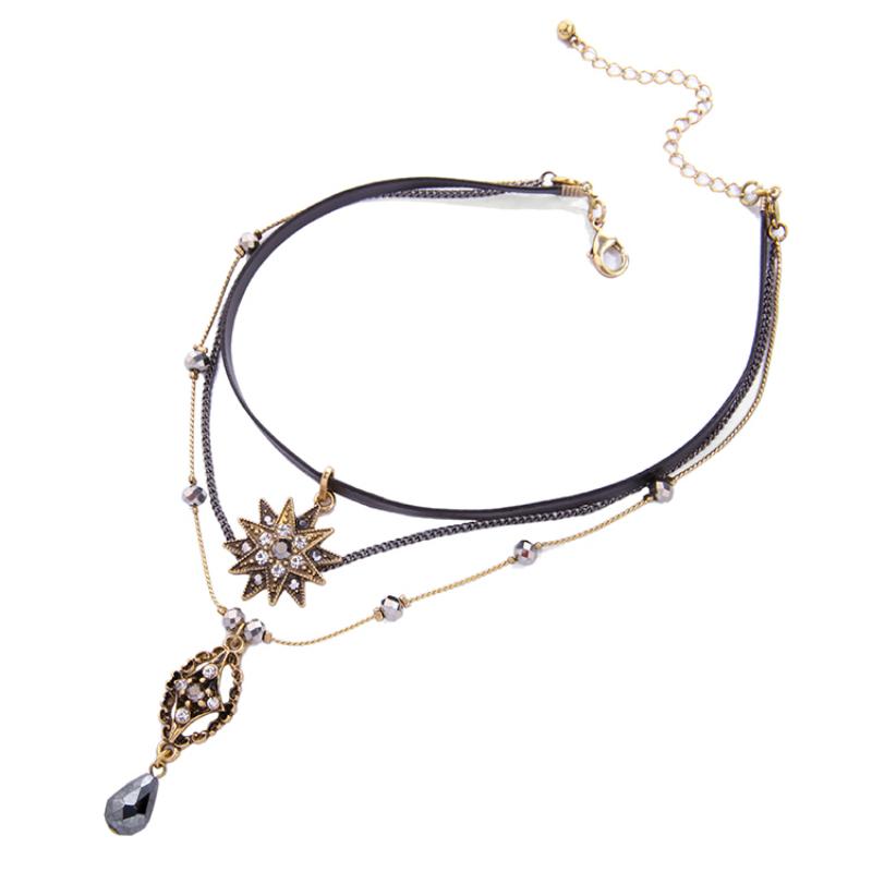 颈链女欧美多层脖链短款吊坠项链可拆星星雪花水滴合金女士锁骨链