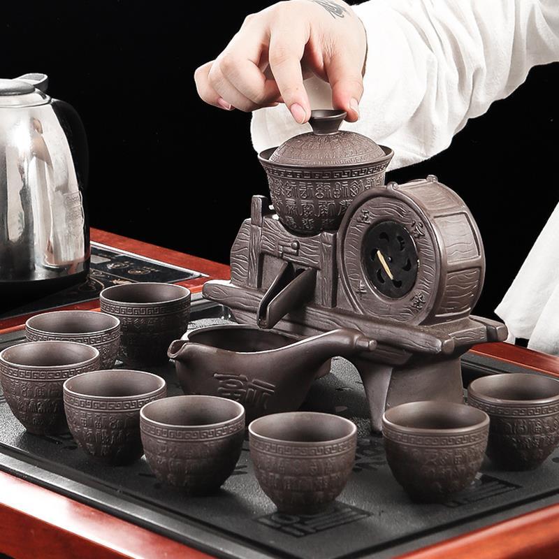紫砂复古石墨功夫半自动懒人泡茶壶防烫石磨茶具套装家用