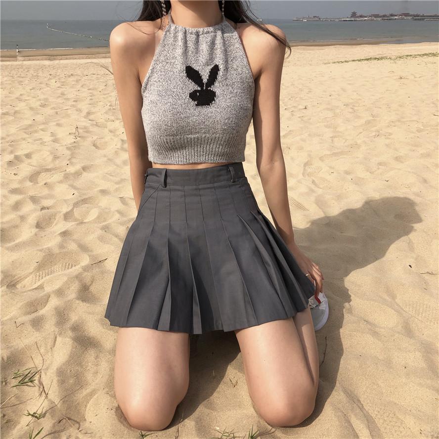 春季短款露背吊带兔子挂脖式针织短背心修身洋气打底衫时尚百搭女