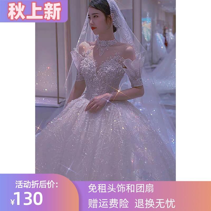 婚纱出租礼服2021新款新娘礼服一字肩韩式修身重工星空长拖尾租赁