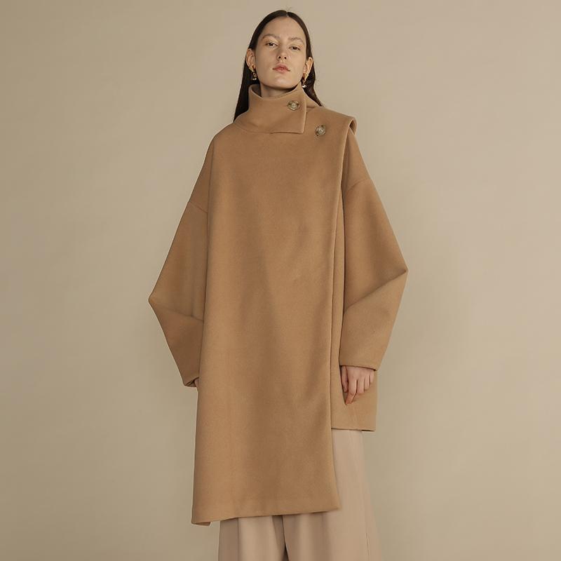【新春八折】立领羊毛毛呢长大衣不对称秋冬DIDDISTUDIO原创设计