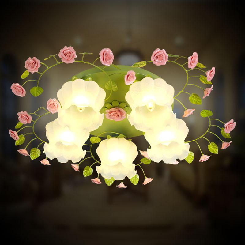 田园花草大气客厅灯LED吸顶灯餐厅灯卧室灯浪漫玫瑰公主灯书房灯