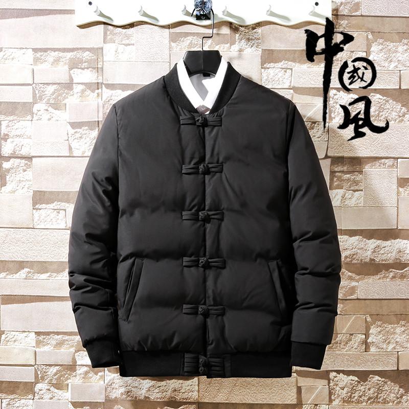 中国风男装盘扣棉衣复古中式唐装棉袄男士大码胖子羽绒棉服外套冬