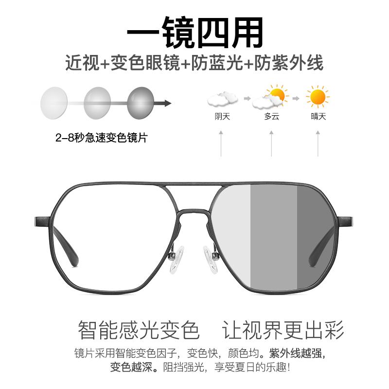 感光变色防蓝光辐射眼镜近视男潮有度数大框平光黑框护眼睛眼镜框满48元减5元