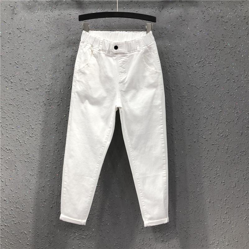 艾天丽19春季新款港味女潮欧货宽松显瘦松紧腰白色休闲牛仔哈伦裤
