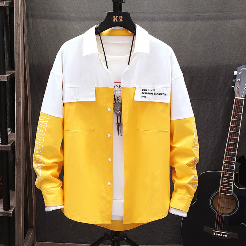 青少年拼色长袖衬衫男韩版潮流学生春季2019新款宽松帅气衬衣外套