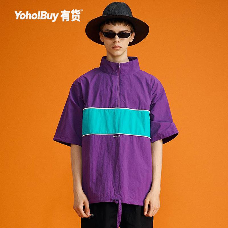 YOHO有货潮牌 LAL 2019夏季新款撞色拼接立领宽松短袖T恤男