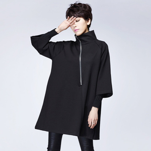 Cloak a version dress jacket female 2020 spring new mid-length black loose was thin seven-point sleeve shirt