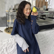 卫衣女2021早初秋外套假两件t恤ss14式celr松ins长袖上衣潮