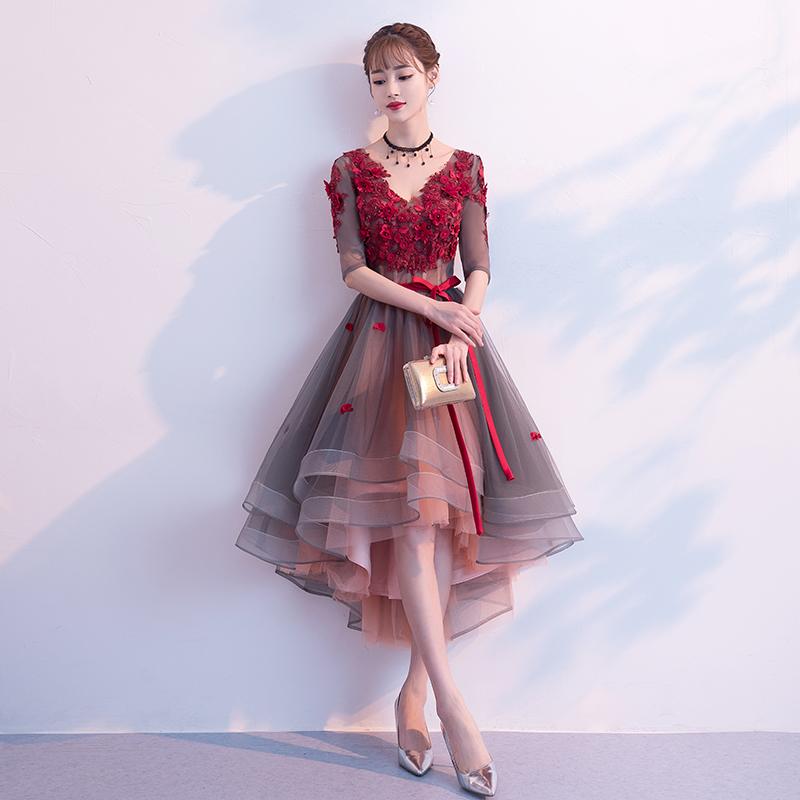 敬酒服新娘2018新款短款高贵优雅前短后长结婚晚礼服裙女名媛宴会