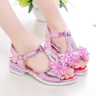 童鞋女童凉鞋公主鞋2020新款韩版宝宝中大童夏季小女孩高跟水晶鞋图片