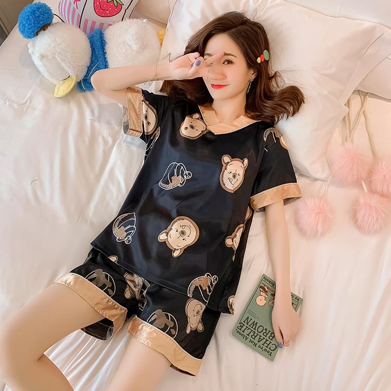 冰丝睡衣女夏季薄款短袖韩版可爱学生家居服丝绸性感两件套装夏天