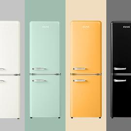 超薄复古冰箱彩绿黄黑白色可爱时尚小型双开门EUNA/优诺 BCD-150R