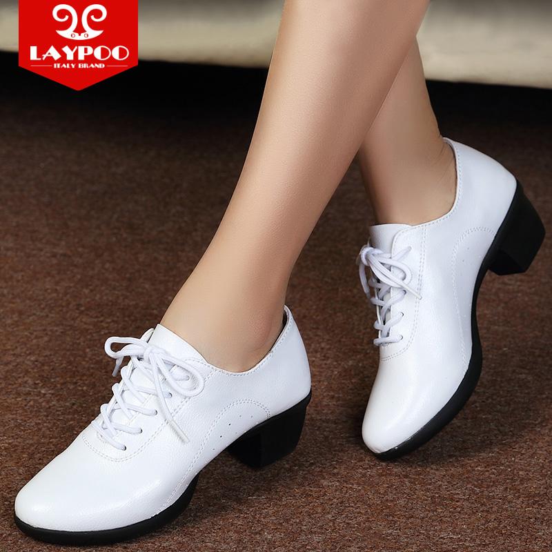 雷博秋冬季舞蹈鞋女真皮广场舞软底水兵舞中跟跳舞鞋女广场舞女鞋