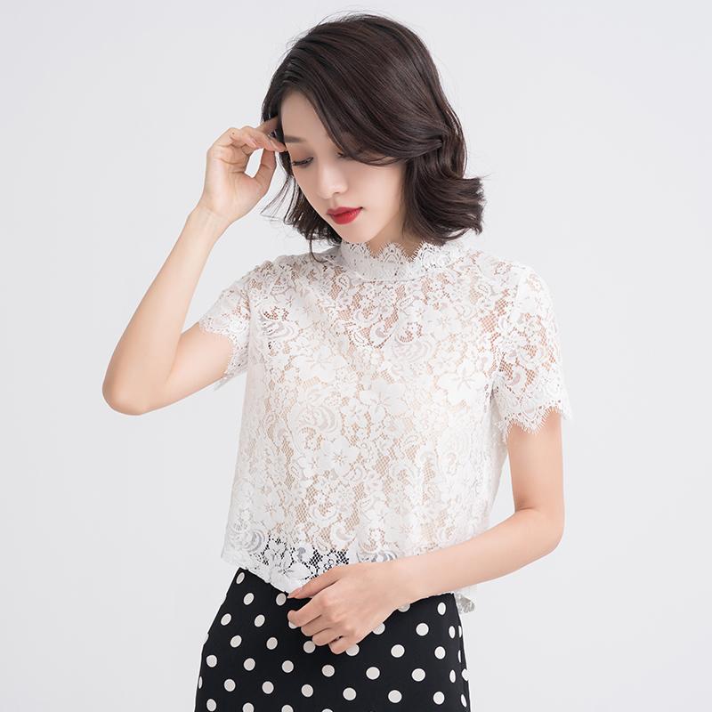 蕾丝上衣女夏2018新款士洋气小衫时尚短袖勾花镂空超仙气质打底衫
